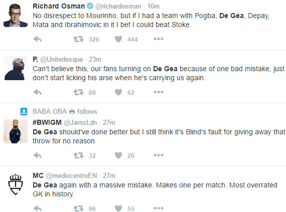 Man U fans blast De Gea after keeper's error gifted Stoke City equaizer