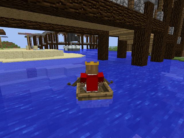 Mannetje vaart met bootje in de Sint-Maartenwereld in Minecraft
