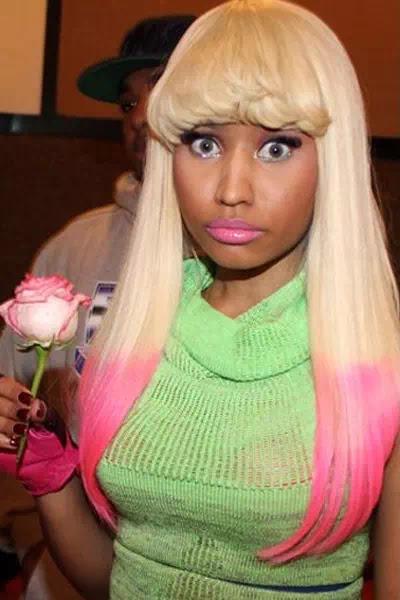 Pink Highlights, Long Blonde Hair With Bangs