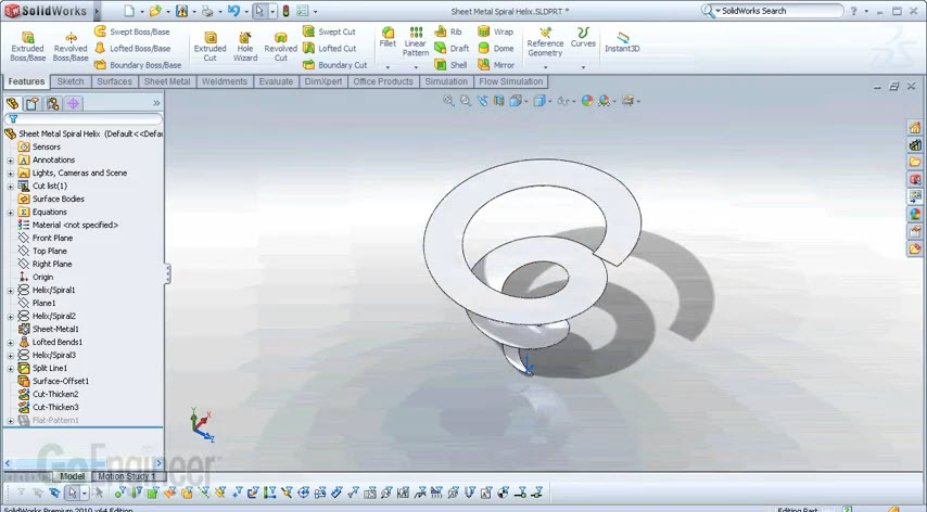 How To Sheet Metal Spiral Helix By Solidworks2011