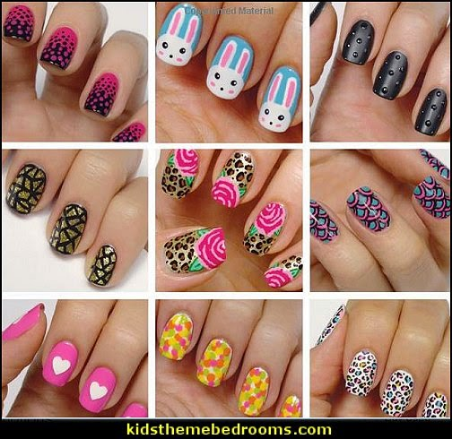 Step By Step tac-toe Nail Art Designs For Short Nails | The