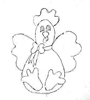 desenho galinha com laço para pintar