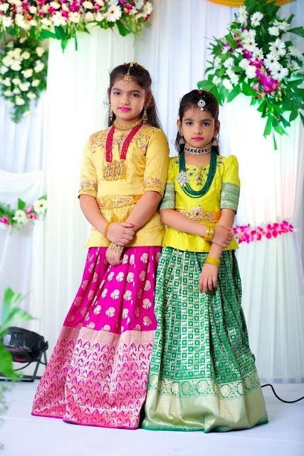Pretty Kids in Benaras Lehengas