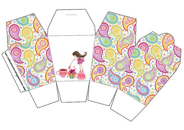 Girls Tea Party Free Printable Chinese Take Away Box.