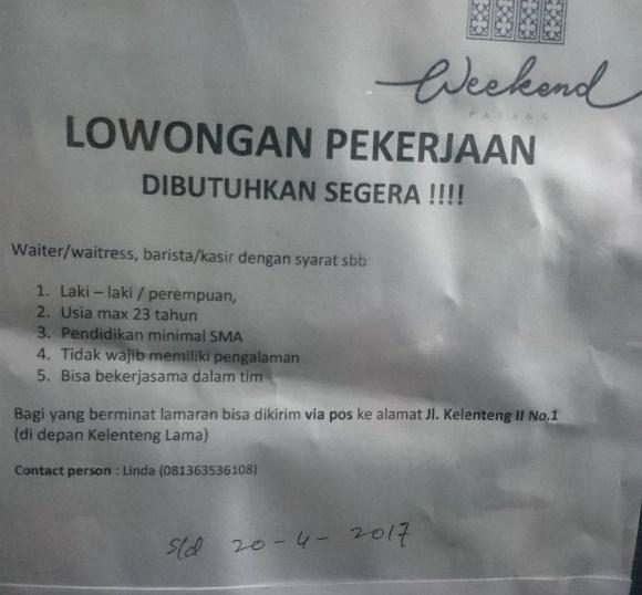 Lowongan Kerja Padang: Waiter, Waitress, Barista dan Kasir April 2017