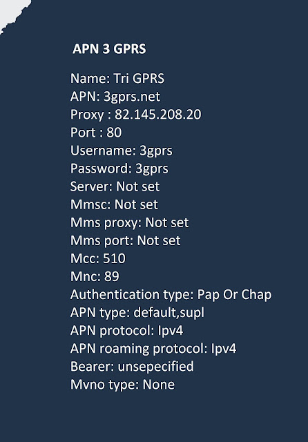 setting APN 3 GPRS