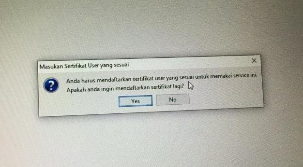 Berhasil Update e-Faktur Masukkan Sertifikat User Yang Sesuai