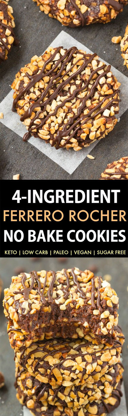 NO BAKE PALEO VEGAN CHOCOLATE HAZELNUT COOKIES (KETO, SUGAR FREE, LOW CARB)