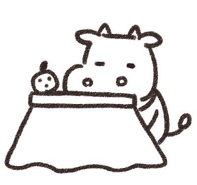 コタツでくつろぐ牛のイラスト(丑年・白黒線画)