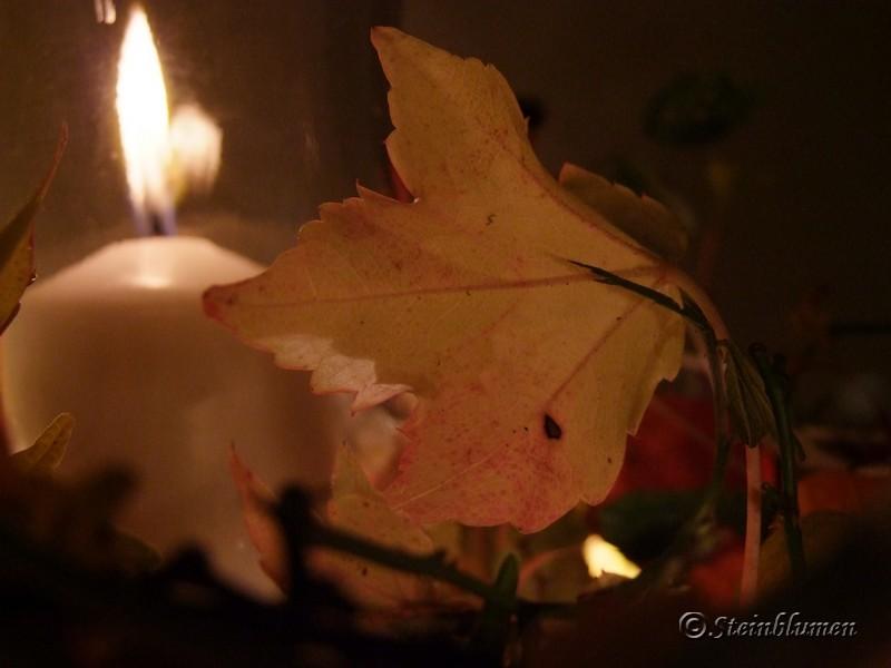 Herbstdeko mit Lampions und Kerze