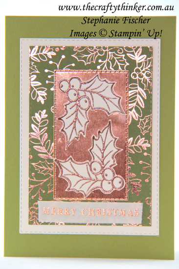 #thecraftythinker #stampinup #christmascard #cardmaking #brightlygleaming #easycard , Christmas card, Brightly Gleaming, Stampin' Dreams Blog Hop, Holly, Simple card, Stampin' Up! Demonstrator, Stephanie Fischer, Sydney NSW