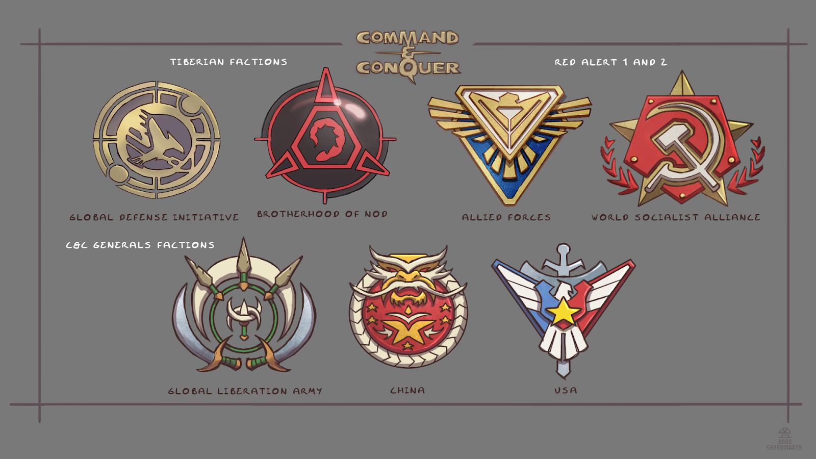 c&c tiberium red alert generals logos