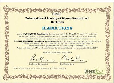 Elena Tione | Diploma di master practitioner in Programmazione Neuro-Linguistica  e Neuro-Semantica®, anno 2015