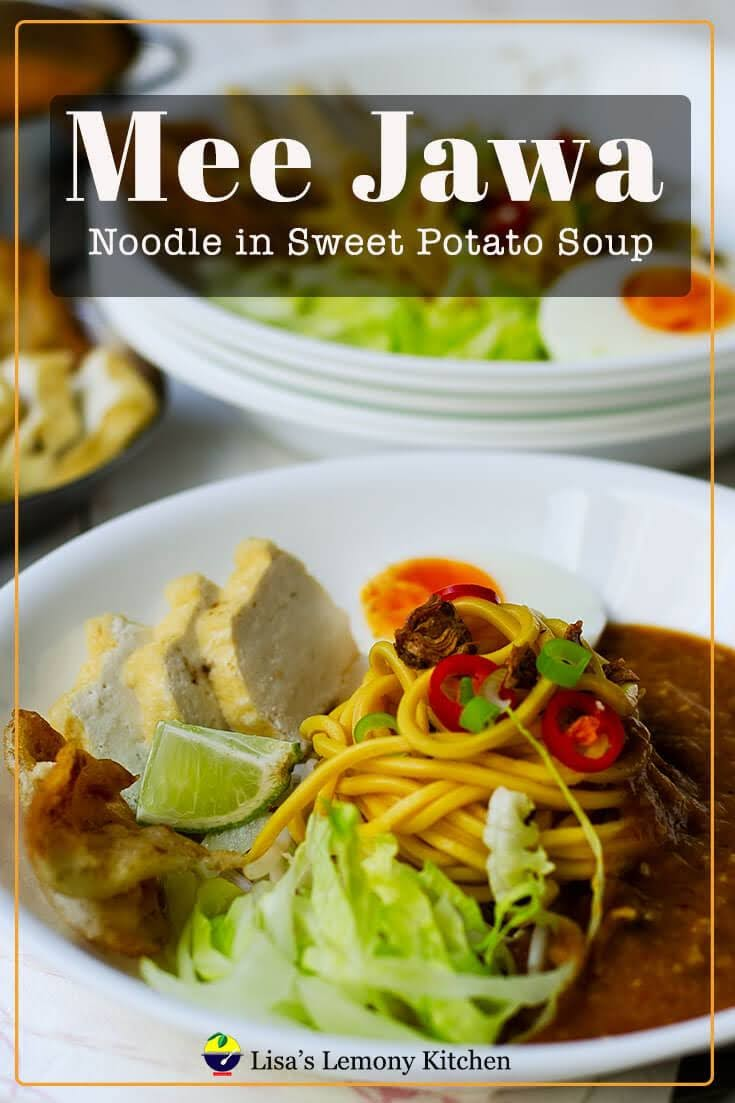 Mee Jawa / Noodles in Sweet Potato Soup recipe.  Mee Jawa is served with sweet potato soup, deep fried beancurd, boiled eggs and sambal.