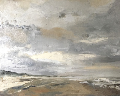 Yellow dunes, plein air seascape in oil by Philine van der Vegte