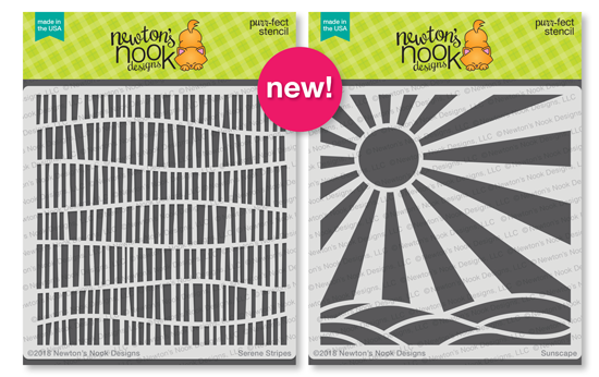 Serene Stripes and Sunscape Stencils | 6x6 Premium Stencils by Newton's Nook Designs #newtonsnook