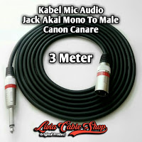 Kabel Mic Audio 3 Meter Jack Akai Mono To Male Canon Canare