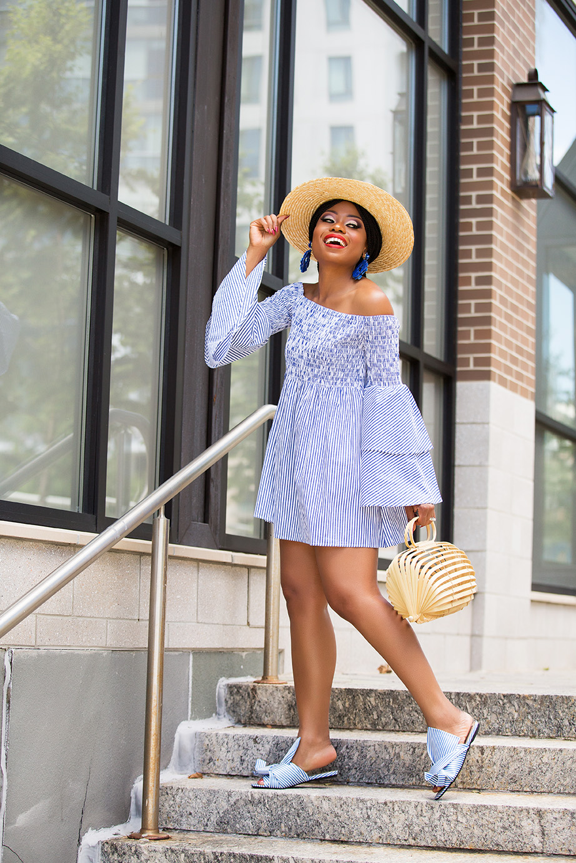 summer dress, Off-shoulder stripe dress, www.jadore-fashion.com