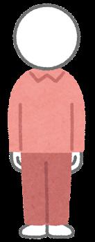 服を着た棒人間のイラスト(赤)
