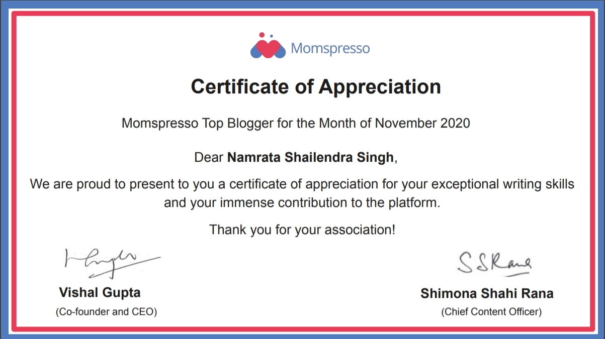 Momspresso Top Blogger - November 2020
