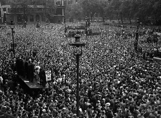 A seething mass of humanity jammed itself into Whitehall in central London on VE-Day (Victory in Europe Day), May 8, 1945, to hear the premier officially announce Germany's unconditional surrender. More than one million people celebrated in the streets of London.