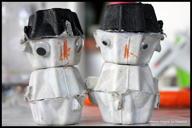 bonhommes neige boite oeufs recup