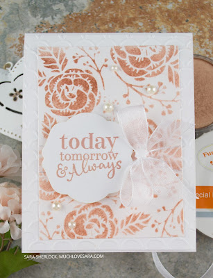 This pretty wedding card, in white and rose gold, was created using Fun Stampers Journey Happy Wedding Day stamp set, and the Flower Power stencil.