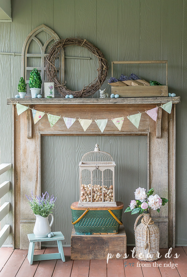 rustic mantel with spring decor ideas