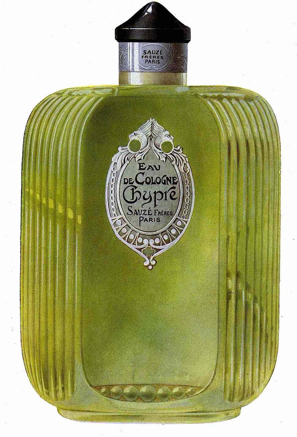 1925 perfume France, a green art deco or moderne bottle