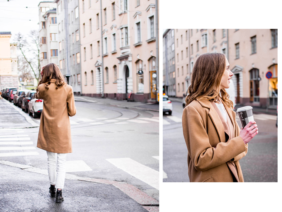 Fashion blogger outfit with white mom jeans, camel blazer and camel coat