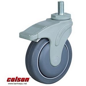 Bánh xe cao su có khóa trục ren chịu tải 80kg | STO-4854-448BRK4