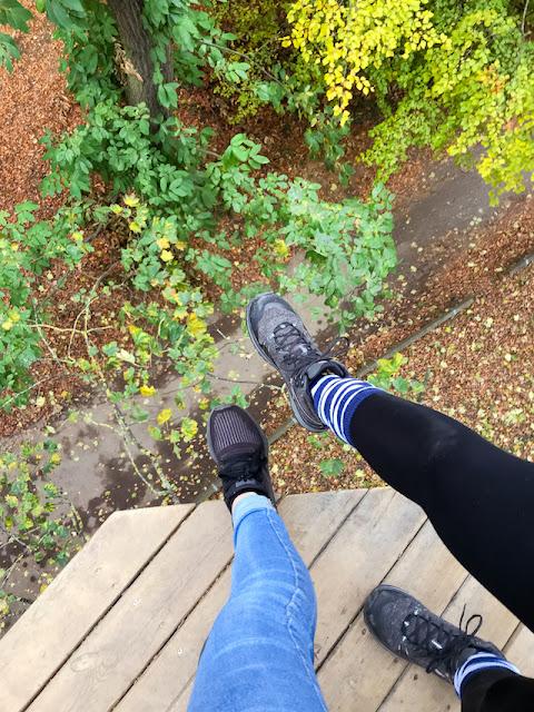 Go Ape at Temple Newsham Leeds - dangling feet over edge of high platform