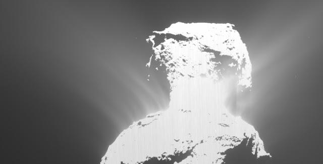 Rosetta's OSIRIS wide-angle camera captured an outburst from the Atum region on Comet 67P/Churyumov–Gerasimenko's large lobe on 19 February 2016. Credit: ESA/Rosetta/MPS for OSIRIS Team MPS/UPD/LAM/IAA/SSO/INTA/UPM/DASP/IDA