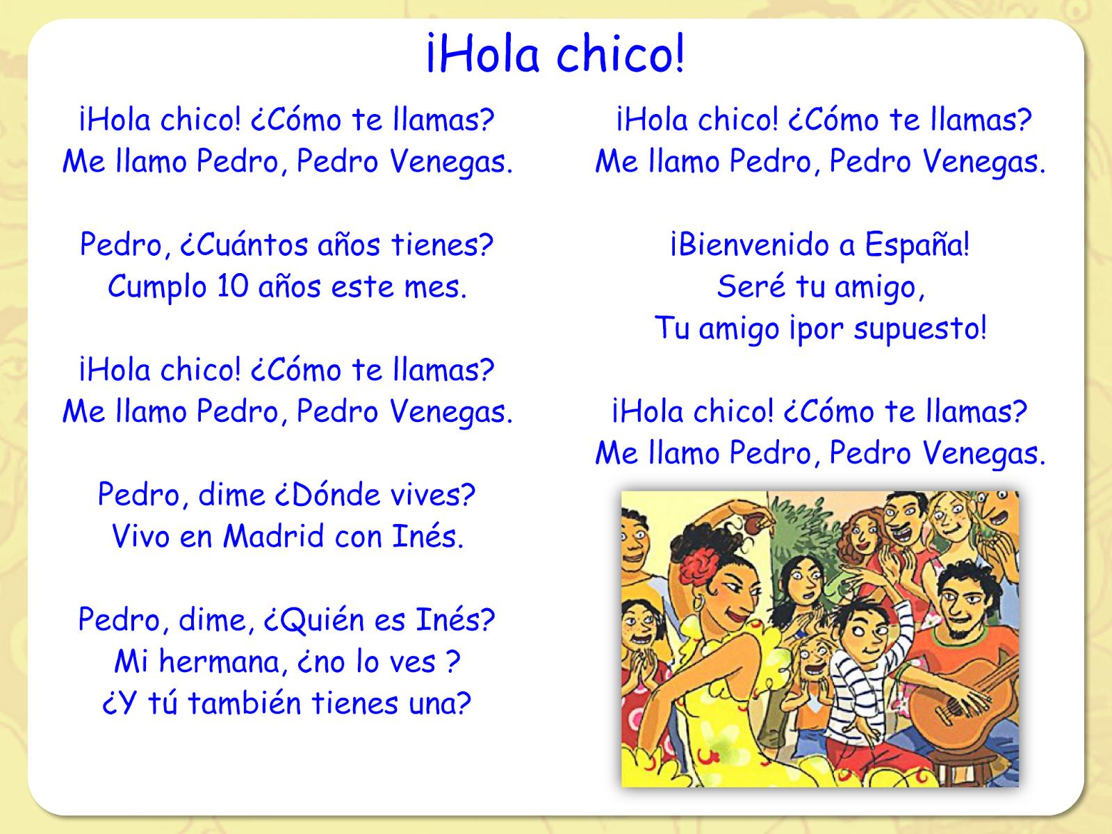 Me Encanta Escribir En Espanol Cancion Hola Chico