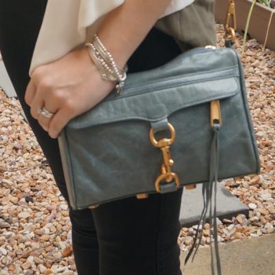 Rebecca Minkoff 2012 sky grey mini MAC bag with black skinny jeans   away from the blue