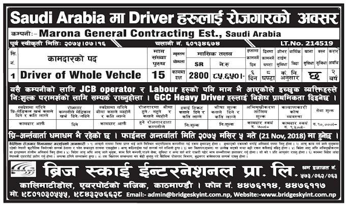 Jobs in Saudi Arabia for Nepali, Salary Rs 85,650