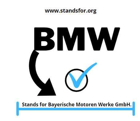 BMW-Stands for Bayerische Motoren Werke GmbH.