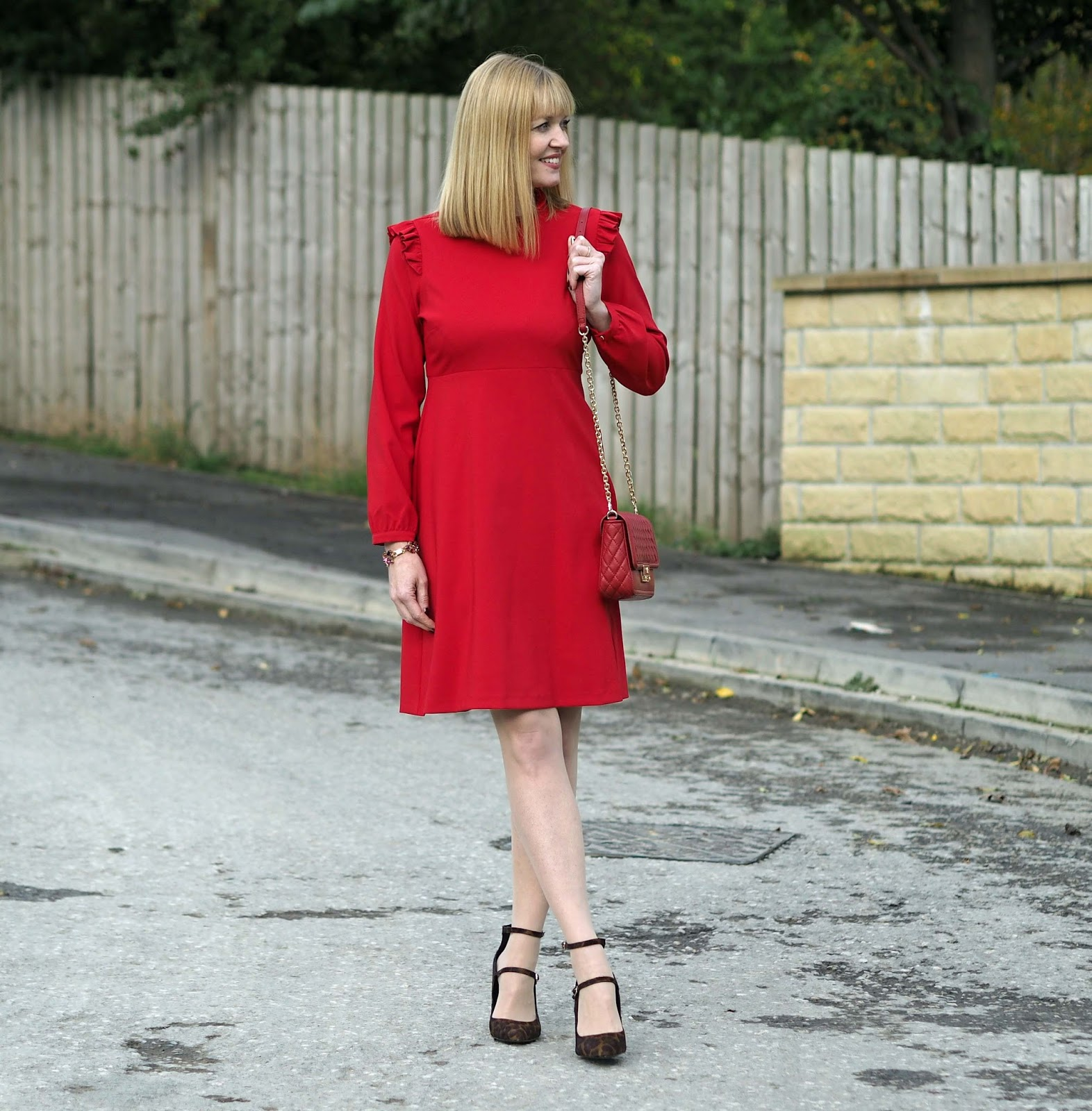 Red ruffle dress with Eternal collection red, purple statement gemstone  bracelet ...