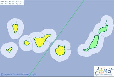Gran Canaria en aviso amarillo por viento domingo 8 enero