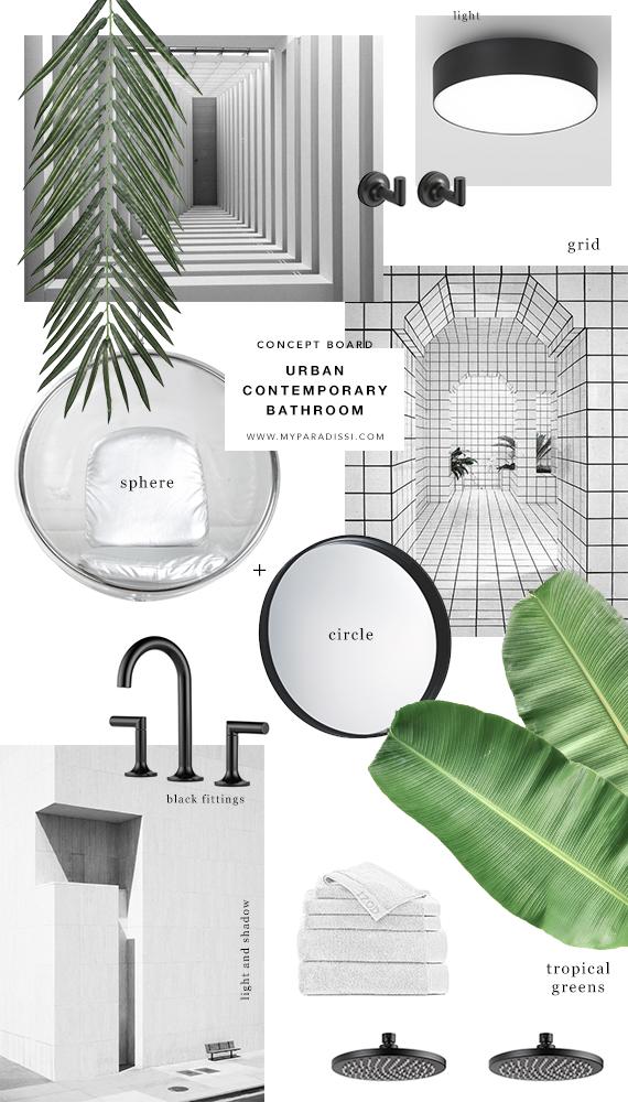 Concept board urban contemporary bathroom my paradissi for Bathroom design board