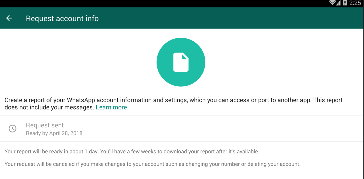 Whatsapp Now allows 'Data Download'(collected from you) option for The Indian Uncle and other users around the world!