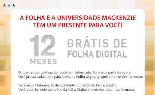 Folha e Mackenzie fazem parceria de assinatura grátis aos universitários