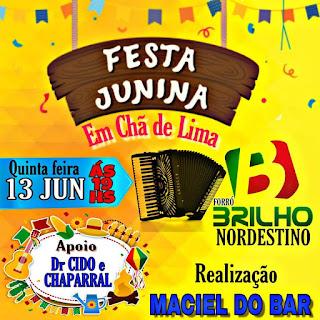 É nesta quinta-feira às 19hrs, festa junina em Chã de Lima.