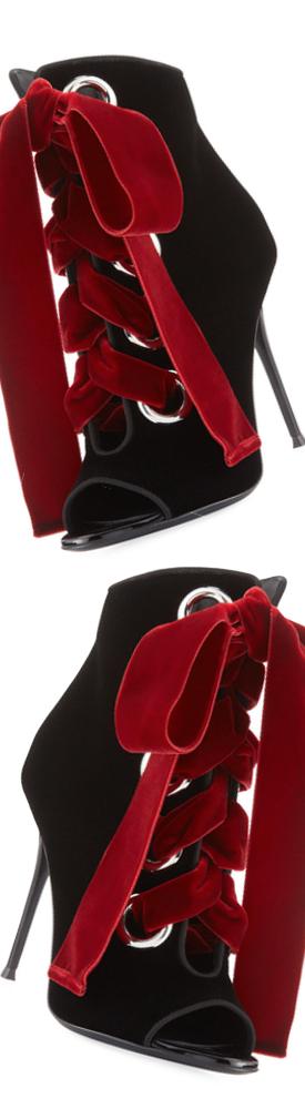 Giuseppe Zanotti Velvet Lace-Up Peep-Toe 105mm Bootie