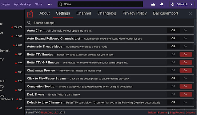 opzioni better twitch TV