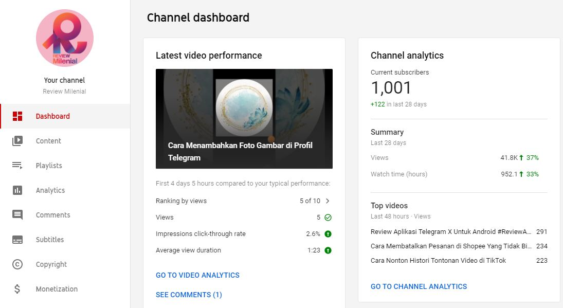 Channel Youtube Review Milenial