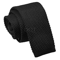 MENS KNITTED BLACK SQUARE END TIE