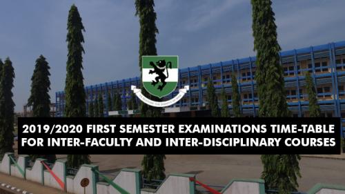 UNN Inter-Faculty & Disciplinary Courses Exam Timetable 2019/2020