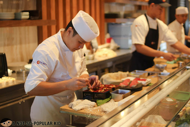 Chef preparing sushi in Nobu Restaurant