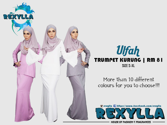 rexylla, trumpet kurung, baju kurung, ulfah collection